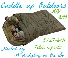 {Giveaway} Cuddle Up Outdoors ~ Teton Sports Mammoth Sleeping Bag (5/27-6/11)