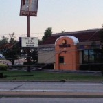 Power lines on Taco Bell. The sign pieces have been found blocks away.