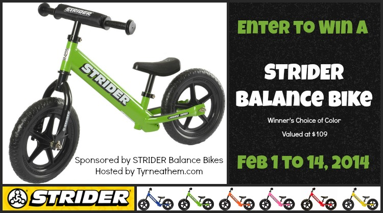 Enter to win the Strider Balance Bike Giveaway. Ends 1/14