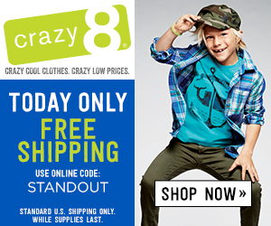 Today ONLY! Get Free Shipping at Crazy 8! Plus, grab the code for 18% off on Sunday & Monday!