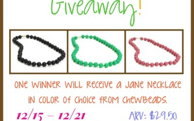 LAST CHANCE! A teether for #baby & fashionable jewelry for you! Enter to #win the Chewbeads #giveaway for a Jane Necklace! (Ends Dec 21)