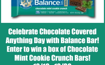 Choose a healthier snack option! Enter the Balance Bar #giveaway for a chance to #win a box of Chocolate Mint Cookie Crunch bars! (Ends Dec 30)