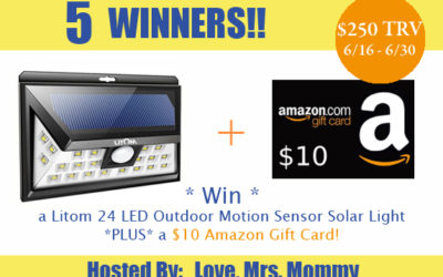 Litom LED Motion Sensor Solar Light & $10 Amazon Gift Card Giveaway with Five Winners (Winner to be Announced)