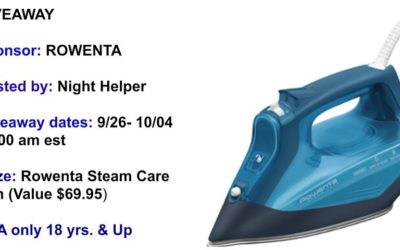 Rowenta SteamCare Iron Giveaway ⚬ Ends Oct 4