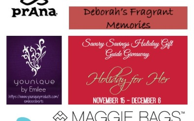 Savory Savings Holiday Gift Guide #giveaway! Enter to #win the Holiday for Her Gift Pack! (Ends Dec 6)