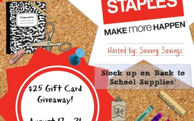 LAST CHANCE School Supply Stock Up #giveaway! Enter to #win a $25 gift card from Staples! (Aug 17 to 31/ US)