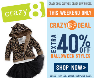 Get an extra 40% off Halloween styles this weekend at Crazy 8!