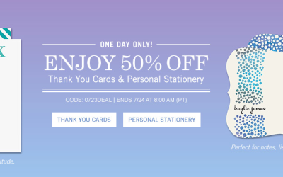 Get 50% off Thank You cards & Personal Stationery at Tiny Prints! Today ONLY!