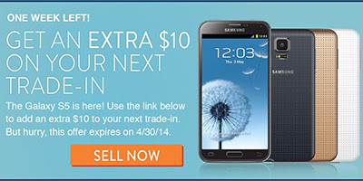 The New Samsung Galaxy S5 is Out! Earn $10 Extra on Your $50+ Trade-Ins at Gazelle! (Ends Apr 30)